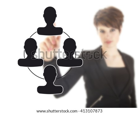 Unsharp young businesswoman with black virtual friends isolated on white background - stock photo