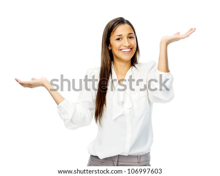 Unsure woman shrugs her shoulders in a questioning gesture of uncertainty. isolated on white background - stock photo