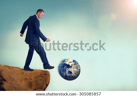 unsustainable business concept global environmental destruction deliberate motion blur subtle vintage filter and lens flare - stock photo