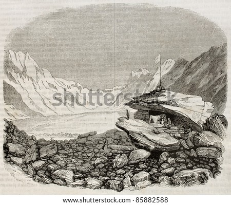 Unteraar Glacier old view, Canton of Berne, Switzerland. By unidentified author, published on Magasin Pittoresque, Paris, 1842 - stock photo