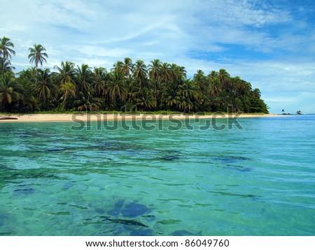 Untouched Caribbean beach in Zapatillas cays, Bastimentos marine park, Bocas del Toro, Panama - stock photo