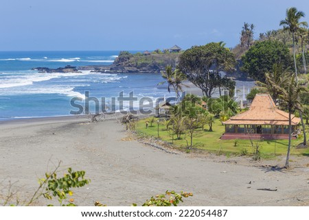 Untouched sandy beach with palms trees and azure ocean in background panorama  - stock photo