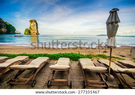 Untouched tropical beach in Phuket - stock photo