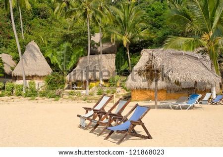 Untouched tropical beach in Yelapa, Puerto Vallarta, Mexico. - stock photo