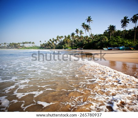 Untouched tropical beach with fishing boat in Sri Lanka - stock photo