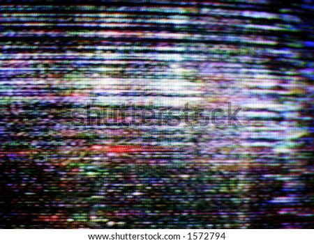 untuned picture on a television - stock photo