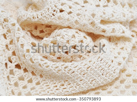 Unusual abstract knitted background texture. Crochet. Macro with extremely shallow dof - stock photo