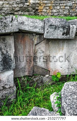 Unusual big stones in ruins of the ancient city Palenque - Mexico, Latin America - stock photo