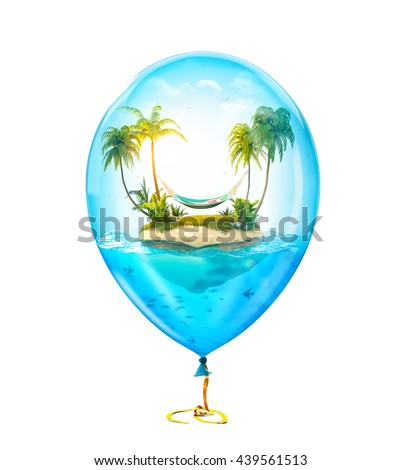 Unusual 3d illustration of fantastic tropical island with palms and hammock in the ocean inside of Inflatable air balloon. Concept travel illustration Isolated at white - stock photo