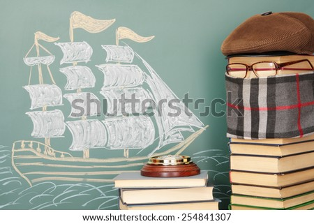 Unusual funny education lesson of navigation - stock photo