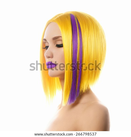 Unusual hairs.Yellow purple Hair. Haircut. Beautiful Girl with Short Hair. Hairstyle. Bob. Fringe. Profile Portrait of Fashion Beauty Woman - stock photo