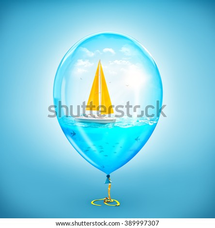 Unusual illustration of amazing yacht in the ocean inside of Inflatable air balloon - stock photo