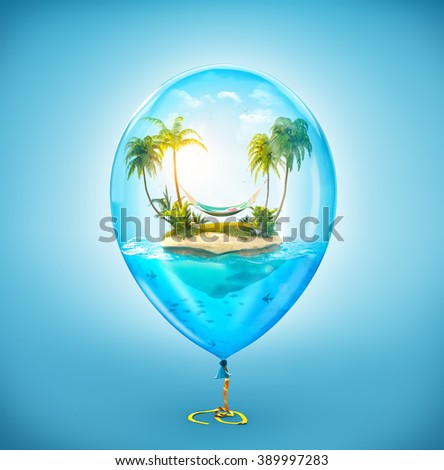 Unusual illustration of fantastic tropical island with palms and hammock in the ocean inside of Inflatable air balloon - stock photo
