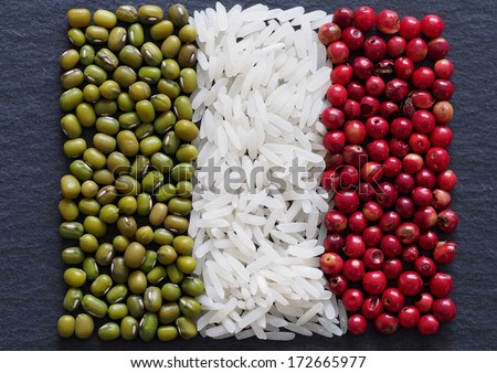 Unusual Italy flag made of food and condiments - stock photo