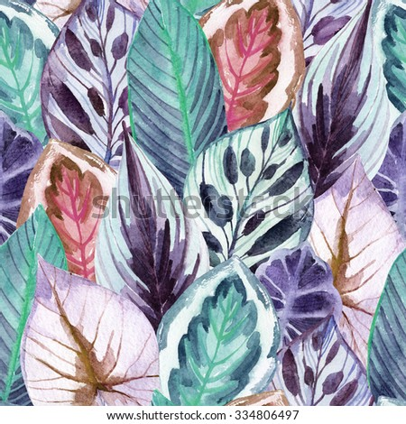 unusual leaves seamless pattern. Hand drawn exotic leaves illustration in watercolor. - stock photo