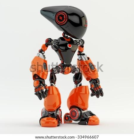 Unusual long-headed robotic creature / Bright robot - stock photo