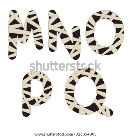 Unusual mummy style alphabet. Part 3 of 5. Hand drawn dark grey letters wrapped with beige bandages isolated on white background. Ideal font for a halloween party posters and invitations. - stock photo