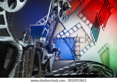 Unusual, old film projector - stock photo