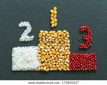 Unusual podium made of food and condiments - stock photo