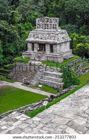 Unusual pyramid in ancient city Palenque - Mexico, Latin America - stock photo