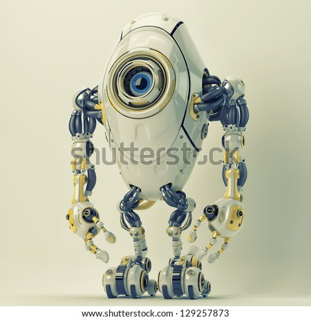Unusual robotic character with one blue eye. 3ds max render / Lovely creature - stock photo