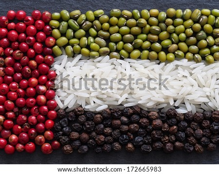 Unusual United Arab Emirates flag made of food and condiments - stock photo