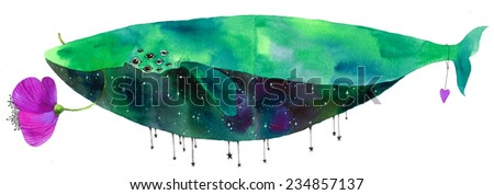 Unusual watercolor cosmic whale. Hand drawn raster illustration. - stock photo