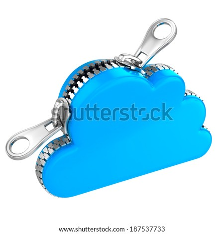 Unzipped Cloud Computing Isolated On White - stock photo