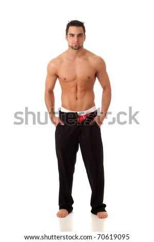 Unzipped Pants - stock photo
