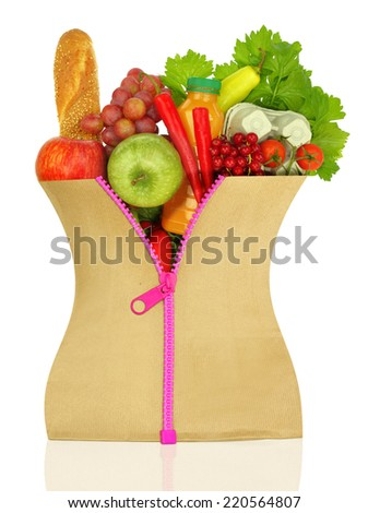 Unzipped shopping bag filled with groceries - stock photo