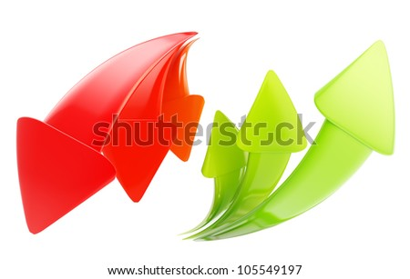 Up and down arrow icon emblems isolated on white - stock photo