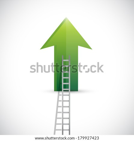 up arrow and ladder illustration design over a white background - stock photo