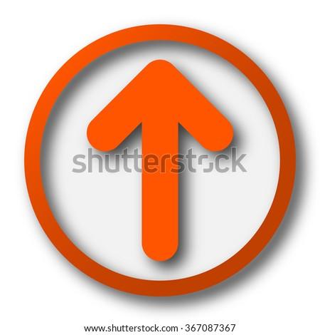 Up arrow icon. Internet button on white background. - stock photo