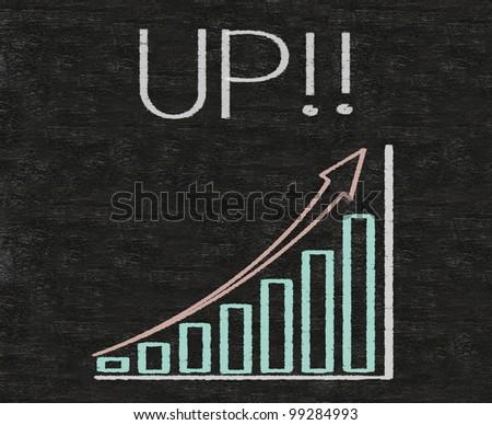 up chart written on blackboard background, high resolution - stock photo