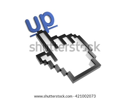up. 3d rendered inscription. Link and finger, pointer. Isolated on white - stock photo
