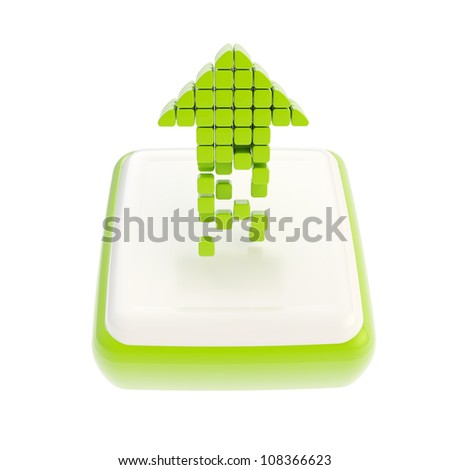 Up green increase arrow symbol icon made of cube segments over glossy square button isolated on white background - stock photo