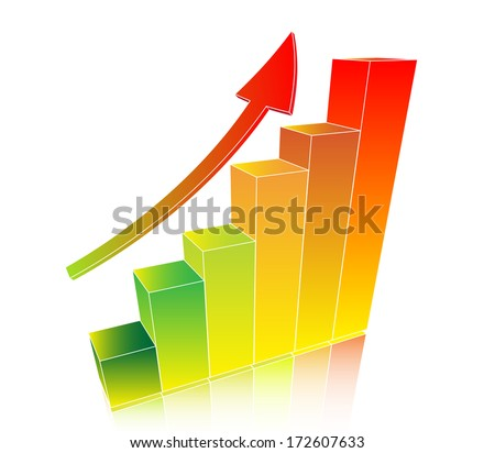 Up grow business chart with arrow - stock photo