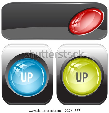 Up. Internet buttons. Raster illustration. Vector version is in my portfolio. - stock photo
