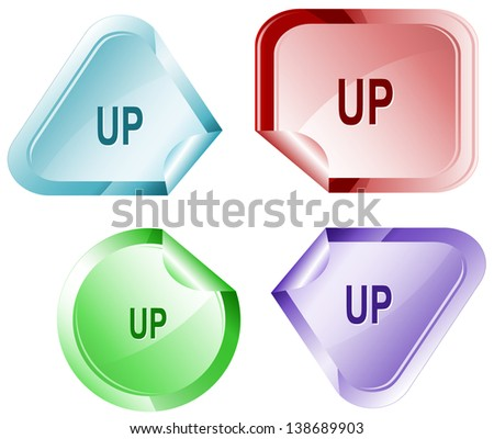 Up. Stickers. Raster illustration. Vector version is in my portfolio. - stock photo