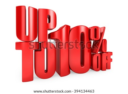 Up to 10% Off 3D Render Red Word Isolated in White Background - stock photo
