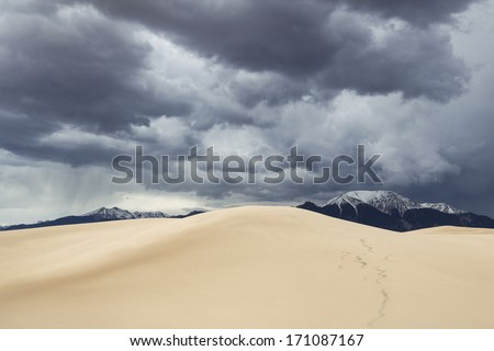 Upcoming storm over Great Sand Dunes National Park, Colorado, USA - stock photo