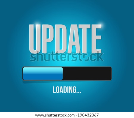 updates loading concept illustration design over a blue background - stock photo