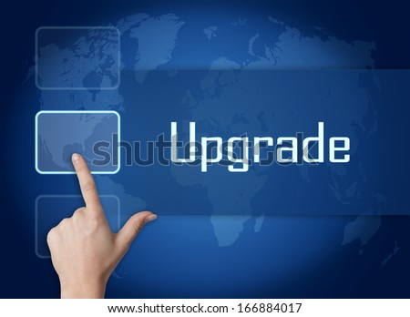 Upgrade concept with interface and world map on blue background - stock photo