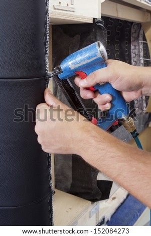 upholstery / gun Upholstery - stapler - stock photo