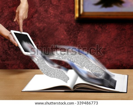 upload and download concept with ebook reader or tablet - stock photo