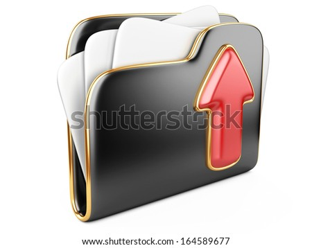 Upload folder 3d icon.  Transferring information concepts. 3d illustration over white. - stock photo