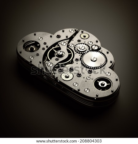 upload list. Close up cloud with gears. technology abstract background. High resolution 3d  - stock photo