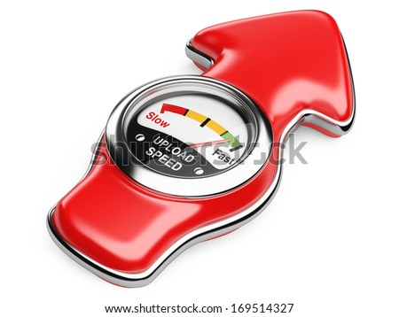 Upload speedometer and arrow sign. Internet connection speed concept. 3d illustration on a white background - stock photo