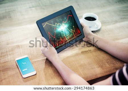 uploading screen against stocks and shares - stock photo
