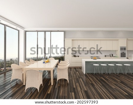 Upmarket open-plan kitchen and dining room with a contemporary dining table and chairs in front of large view windows with an urban view and a counter with bar stools connecting to the kitchen area - stock photo